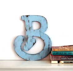 Wooden Letter B in Soft Blue Pine Wood Sign Wall Decor Rustic Americana Country Chic Wedding Photo Prop Nursery Kids Decor Wedding Initials on Etsy, $32.00