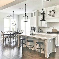 44 + Stylish White Kitchen Cabinets Decor - Home By X Kitchen Cabinets Decor, Cabinet Decor, Kitchen Ideas, Diy Kitchen, Cheap Kitchen, Cabinet Makeover, Cabinet Ideas, Storage Cabinets, Farmhouse Kitchen Lighting