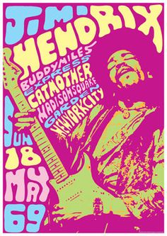 JIMI HENDRIX - 18 May 1968 New York - concert live show poster artistic