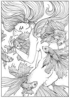 Fight to protect by JowieLimArt on DeviantArt Mermaid Coloring Pages, Cute Coloring Pages, Printable Adult Coloring Pages, Fairy Coloring, Colouring Pics, Coloring Books, Mermaid Art, Art Plastique, Mandala Art
