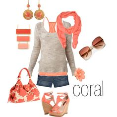 Nice, casual outfit.  Love the coral.