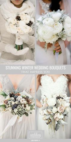 Stunning Winter Wedding Bouquets❤ Cozy sweaters and half-length coats look chic with any wedding gown and create an opportunity for stunning winter wedding bouquets.  http://www.weddingforward.com/winter-wedding-bouquets/ #wedding  #bouquets