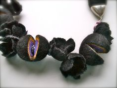 Felt necklace Necklace with silver colored fittings and by jurooma