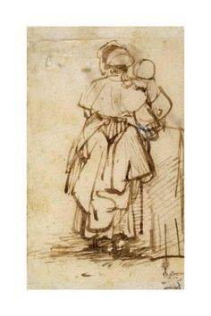 Giclee Print: Woman with a Child on Her Lap, 1640S by Rembrandt van Rijn : 24x16in