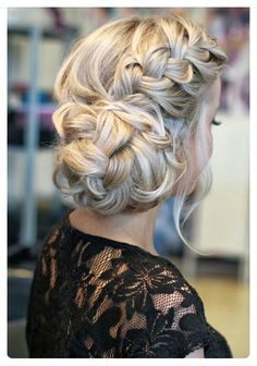 Elegant updo hair braid cocktail party wedding