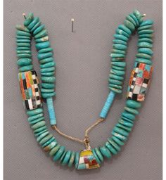 mix turquoise disks with poly beads PUEBLO NECKLACE