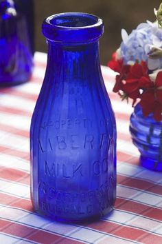 Liberty Milk Co. blue milk bottle ~ I have a couple of these with the Statue of Liberty on the other side of bottle! Antique Glass Bottles, Bottles And Jars, Perfume Bottles, Im Blue, Blue And White, Bleu Cobalt, Vintage Bottles, Vintage Perfume, Cobalt Glass