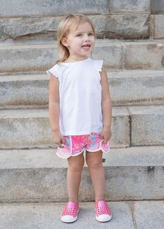 Perfect preschool outfit for a toddler girl! Gotta love the Lilly Pulitzer shorts, Kardashian Kids top, and those Pink Native  #ZapposStyle casualclaire.com