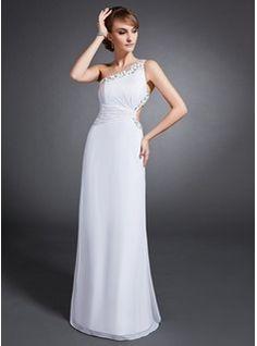 Sheath/Column One-Shoulder Floor-Length Chiffon Evening Dress With Ruffle Beading Sequins