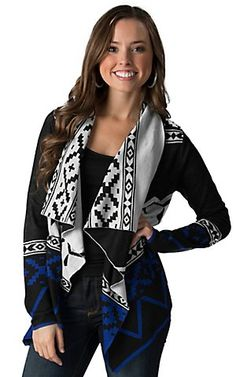 Flying Tomato Women's Grey & Blue Aztec Long Sleeve Cardigan | Cavender's
