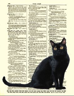 Enchanting Black Cat Print, Black Cat Art, Antique Dictionary Page. $10.00, via Etsy.