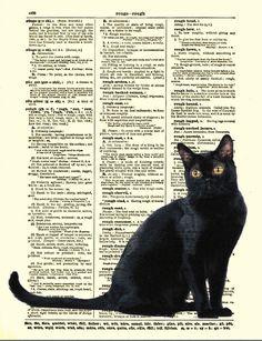 Enchanting Black Cat Print, Black Cat Art, Antique Dictionary Page. $10.00, via Etsy.