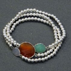 Set Of 3 Stone Bracelets Silver  by Daniella + Anabella smith
