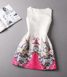 A-Line Printing Sleeveless Casual Dress