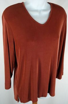 Alfred Dunner Shirt Size S Autumn Rust Slinky Knit Stretch V-neck Pullover Top Alfred Dunner, Rust, Copper, V Neck, Autumn, Pullover, Knitting, Casual, Sleeves