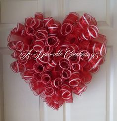 hum.....next project.....i think so!  VALENTINE HEART SHAPED..Red and White Spiral Deco Mesh Wreath.