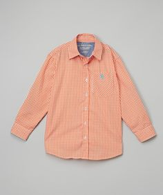 Red Orange Button-Up - Toddler & Boys