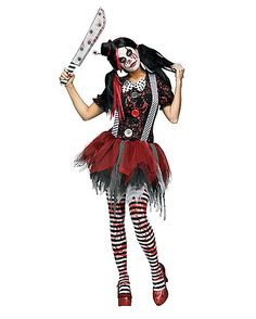 Horror Clown Adult Womens Costume - Spirithalloween.com