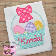Beautiful basket of eggs, Easter applique shirt.  Design from Hooked On Applique