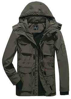 640d4637228e Yozai Men s Lightweight Jackets Windproof Waterproof Outdoor Jackets with  Hooded Green M