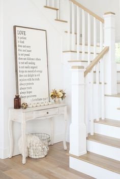 home.quenalbertini: 'Love Is' Art from Between You & Me Signs on Etsy. Paint color is Extra White by Sherwin Williams | Beautiful Homes of Instagram
