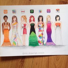 """App dresses (part 3) hope you guys like it☺️ I made a vid where I drew the game center dress.. Should I post it? comment your fave!"""
