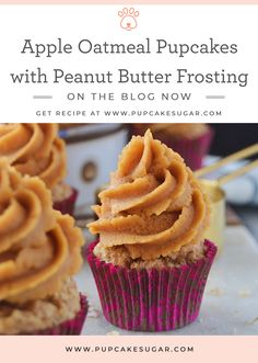 Sugar reflects on her biggest achievements in 2018 and shares her dog treat recipe for Apple Oatmeal Pupcakes With Peanut Butter Frosting Cupcakes For Dogs Recipe, Dog Cake Recipes, Dog Cupcakes, Dog Treat Recipes, Dog Food Recipes, Dog Biscuit Recipes, Pupcake Recipe, Puppy Cake, Apple Oatmeal