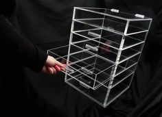 HOT8 Grids Clear Acrylic Makeup Organizer Cosmetics Display