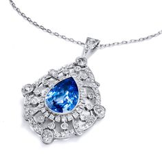 Pear Shaped Sapphire Diamond Platinum Pendant | See more rare vintage Drop Necklaces at https://www.1stdibs.com/jewelry/necklaces/drop-necklaces