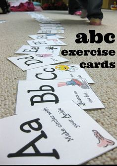 abc exercise cards | indoor alphabet fun for kids from teachmama.com #weteach