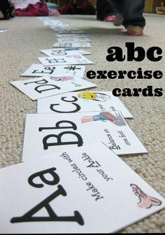 abc exercise cards | indoor alphabet fun for kids from teachmama.com #weteach