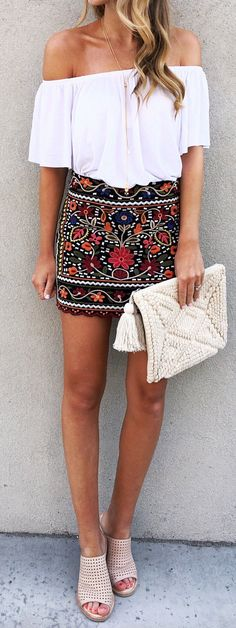 off the shoulder and statement skirt