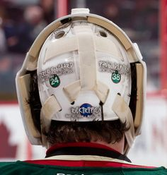 My three friends, passed on - In my heart and on my mask - Brothers on the ice (Josh Harding of the Minnesota Wild with a tribute to former teammates on his 2011-12 mask)