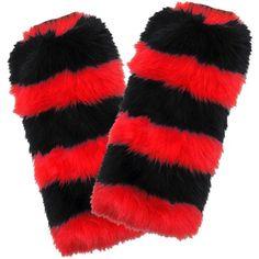 Fuzzy Fan Leg Warmers, Red/Black