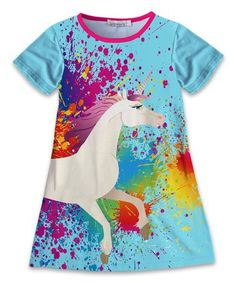 6d3f1c67b17 Look what I found on  zulily! Turquoise  amp  Pink Unicorn Shift Dress -