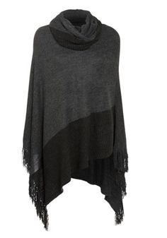 Fringed Poncho (are ponchos making a comeback?) love the asymetrical design of this one and cowl neck!