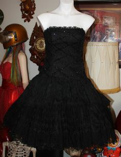 90c893ce4540c VINTAGE 80 S PROM PARTY DRESS BLACK LACE LORALIE MADONNA CYNDI TOTALLY  AWESOME!!