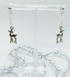 Deer Earrings Drop Dangle earrings Gifts for her Cute | Etsy Gemstone Earrings, Dangle Earrings, Gifts For Readers, Gift Wrapping Services, Christmas Earrings, Organza Gift Bags, Silver Color, My Images, Deer