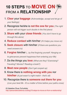 10 Steps To Move On From A Relationship...sometimes you will just never achieve #5 unfortunately. Still struggling with #6 and #10 but that's the way it goes sometimes :/