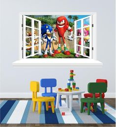 Wall Decals For The Childrenu0027s Bedroom (sticker) Sonic The Hedgehog Window  Sticker ( 58 X 95 Cm) Instruction And A Scrapper To Help Lay It On The Wall.