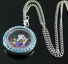 Silver Round Floating Locket w/ Lt. Blue Gems $12.50 + shipping (Charms & Chain sold separately)