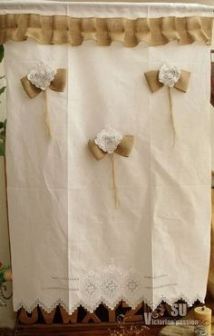 Antique Linen Rustic Burlap Curtain Hand Drawn Embroidered Flower Ruffles Bows   eBay
