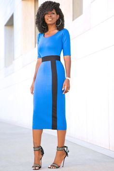 Midi Dress With Black Contrast