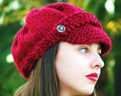 Womens hat Knit Newsboy Hat cap
