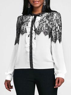 Lace Panel Ruffled Chiffon Blouse - WHITE S Ruff Collar, Cheap Blouses, Collar Pattern, Chiffon Ruffle, Blouse Styles, Lace Overlay, Casual Looks, Tops, Crafts