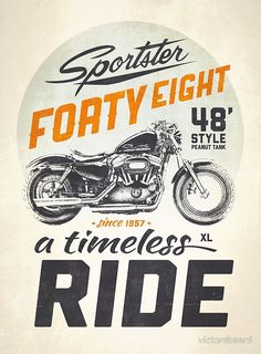 Vintage Motorcycles Forty Eight Poster - This is for a good friend who lives in Philadelphia, he asked me long time ago (I know, I know) to do a vintage Sportster Forty Eight design for him, hope you like it mate :) Bike Poster, Motorcycle Posters, Motorcycle Art, Bike Art, Motorcycle Garage, Motorcycle Birthday, Poster Poster, Harley Davidson 48, Harley Davidson Sportster 1200