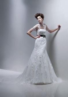 Fit & Flare Strapless Lace Jacket Wedding Dress-wf0027, $329.95
