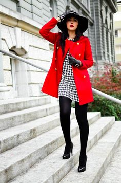 Great outfit!  Red and black is one of my favorites!
