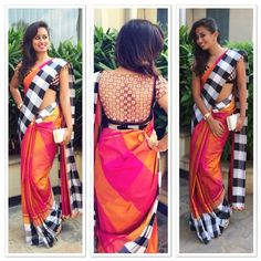 Have you checked into the world of fabulous ethnics yet? Shop our range of checks saree here. Saree Blouse Patterns, Sari Blouse Designs, Dress Patterns, Saree Styles, Blouse Styles, Designer Sarees Online, Designer Dresses, Designer Clothing, Indian Attire