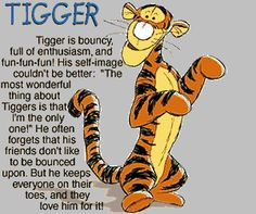 Tigger from Winnie the Pooh - Tigger is a very rambunctious character, he realizes that his tail gets him into a very large amount of trouble. He acts on impulse. He is eager to watch and to learn, he is never selfish and loves to share with his friends.